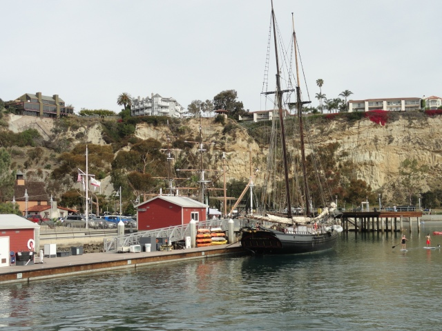 Leaving port and looking back at the historic ships in Dana Point Harbor